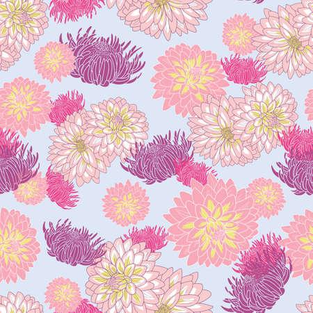 Chrysanthemum flowers seamless pattern on pastel purple background illustration