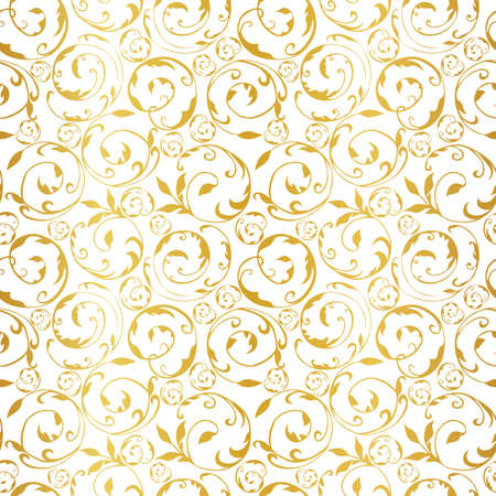 Golden curled up leaves seamless pattern on white background