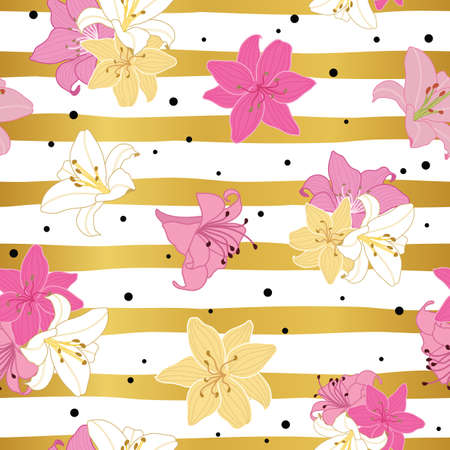 Seamless lily flowers pattern on gold striped background design