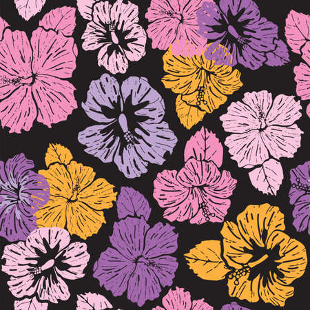 Seamless pattern colorful abstract hibiscus on black background