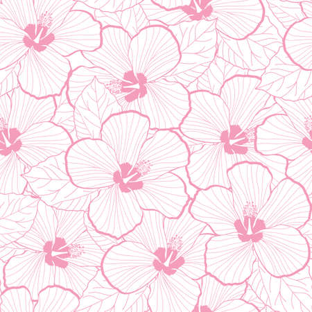 Seamless pattern of hibiscus flower texture illustration