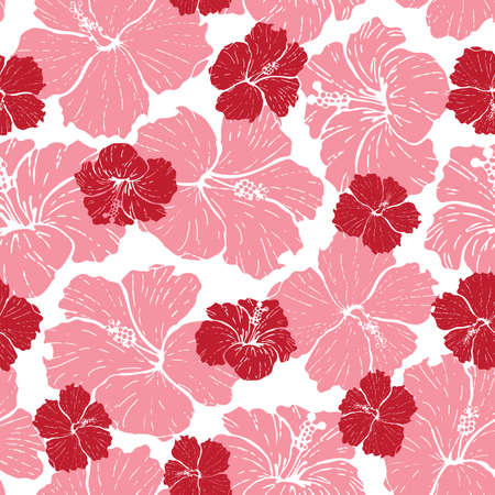 Vector seamless pattern hibiscus in red and pink colors Vettoriali