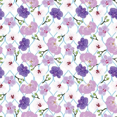 Seamless purple orchid pattern on blue wavy swirl pattern background illustration