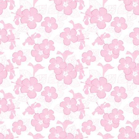 Vector pastel pink hibiscus flowers seamless pattern illustration Vettoriali
