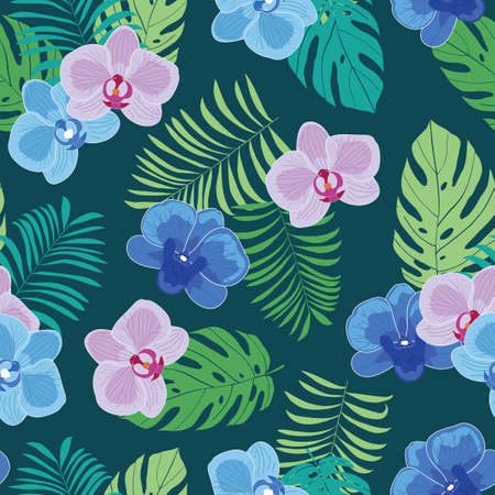 Tropical seamless pattern with orchid flowers and leaves Vettoriali
