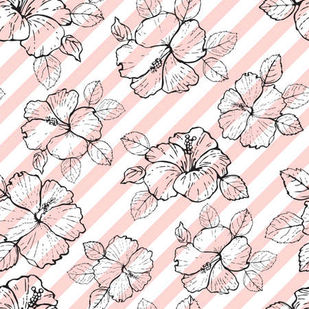 Vector Seamless pattern hibiscus flowers outline on diagonal stripes.