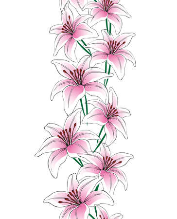 Vector lily flowers vertical seamless pattern
