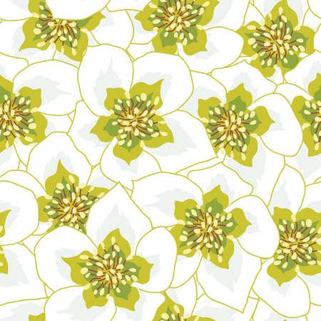 White anemone flowers seamless pattern design illustration Vettoriali