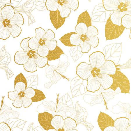 white gold hibiscus seamless pattern illustration