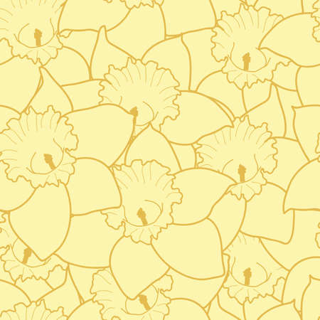 Yellow daffodils seamless pattern background illustration Vettoriali