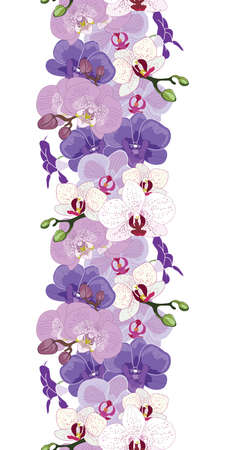 Seamless vertical repeat pattern border with orchid flowers illustration Vettoriali