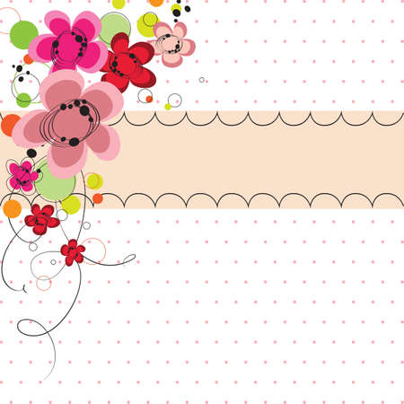 Cute abstract flowers greeting card, baby shower invitation