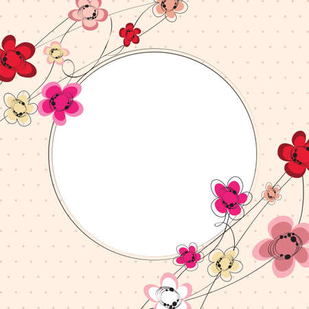 cute flowers background card with frame