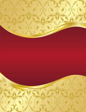 Elegant gold floral background with red banner
