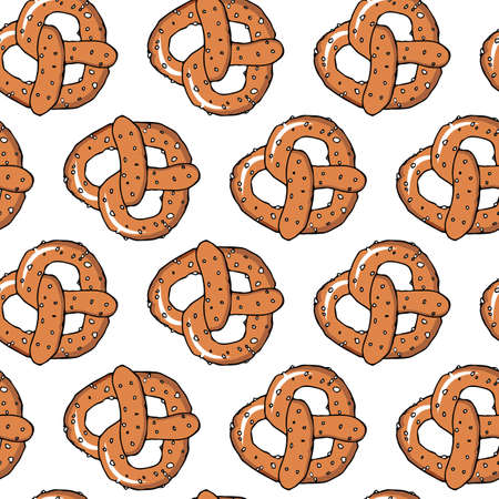 Seamless background with hand drawn illustration of pretzels