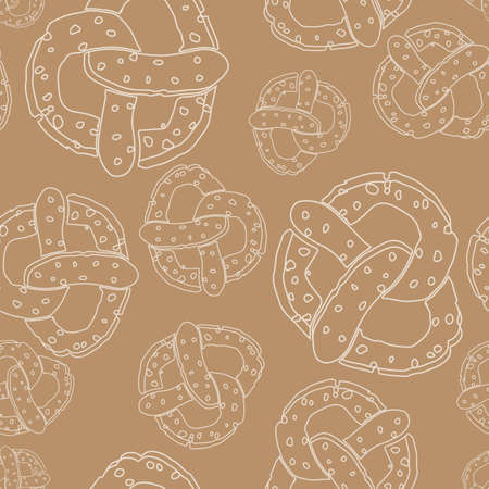 Seamless pattern with outline pretzels