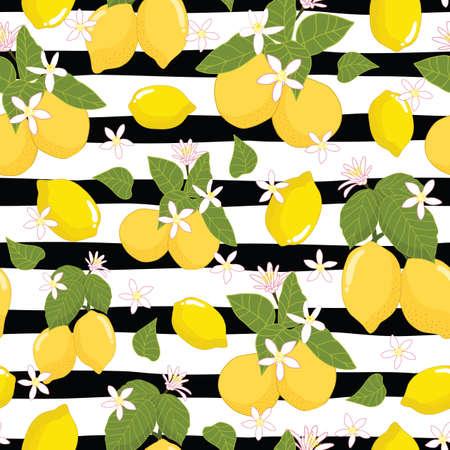 Seamless pattern lemons and leaves on striped background illustration Illustration