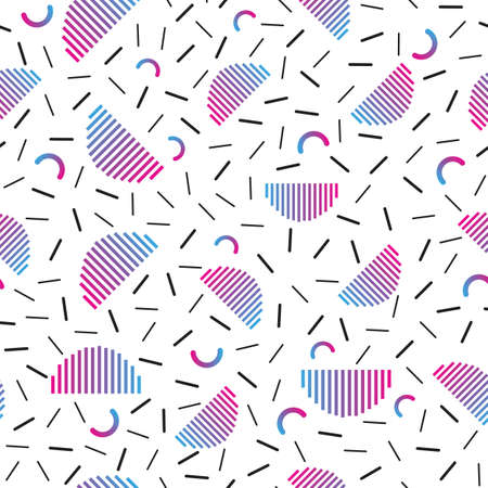 Seamless pattern with gradient purple half cirecles and small dashes, memphis style.