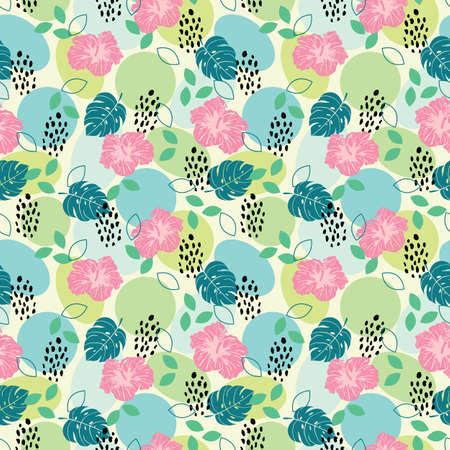Seamless pattern cheetah print, geometric shapes, leaves and hibiscus illustration