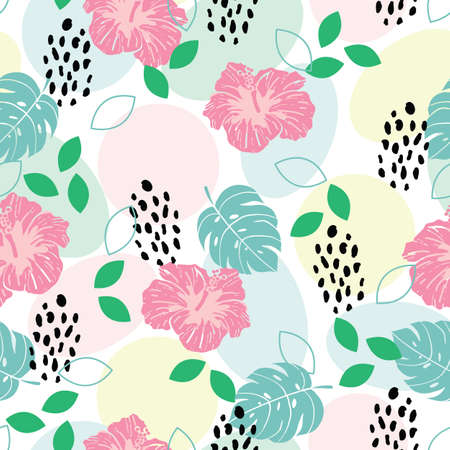 Seamless tropical pattern with leaves, hibiscus, cheetah prints, geometric shapes background