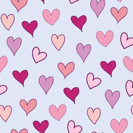 Pink hearts seamless pattern on pastel purple background illustration