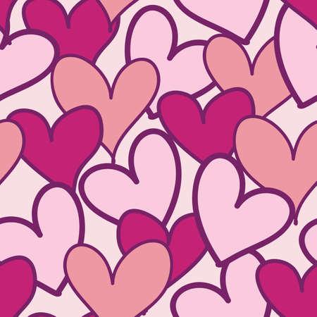 Seamless pink Cartoon hearts vector pattern illustration