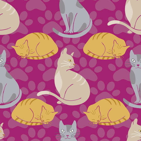 Cute cats seamless pattern on purple background with paw prints illustration