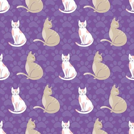 Cats seamless pattern on purple paw prints background illustration