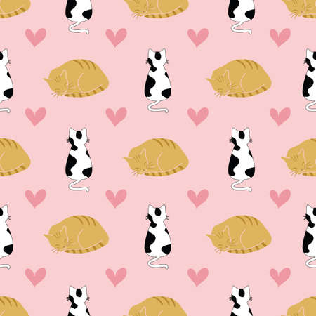 Seamless vector pattern design with cute cats and hearts on pink background illustration