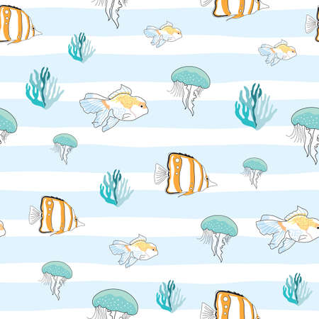 Undersea seamless pattern fish coral jellyfish illustration Ilustrace