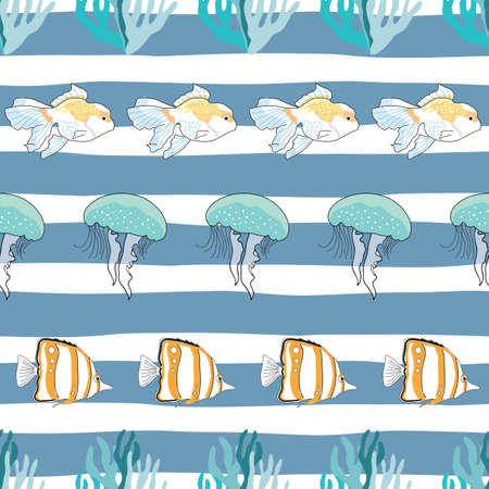 Seamless pattern undersea with corals, fish, and jellyfish Çizim