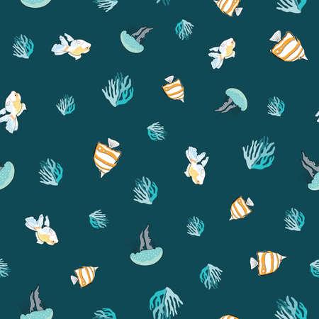 Undersea seamless pattern illustration background