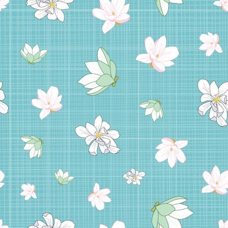 Seamless floral pattern. magnolia illustration