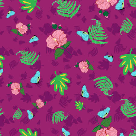 Tropical Hawaii seamless pattern design