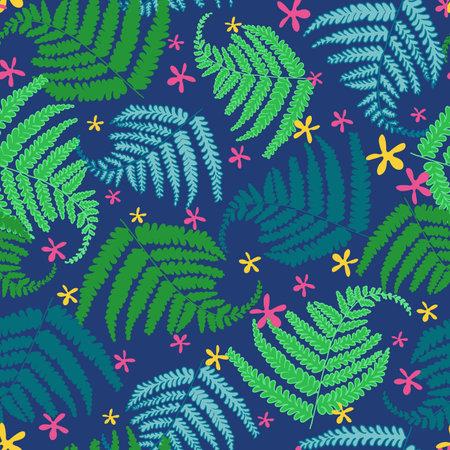Tropical ferns seamless vector pattern design