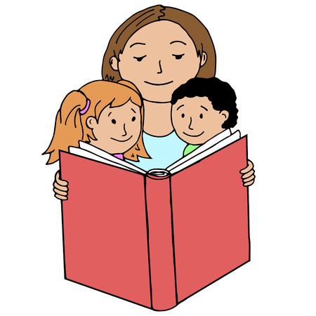 children's story: Mother reading book to her children. Vector illustrations.
