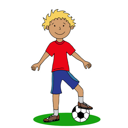 Boy with a soccer ball vector illustration