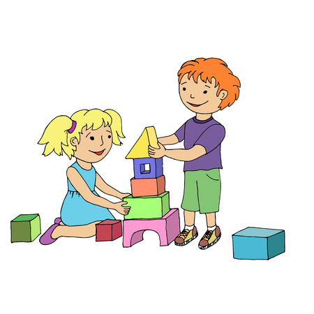 building block: Little girl and boy playing with toy blocks. Vector illustration