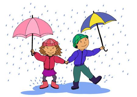 Children with umbrellas walking in the rain vector illustration