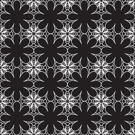 floral vintage seamless pattern in black and white