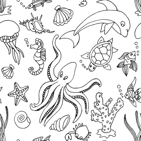 Hand drawn seamless pattern with different sea creatures: fish, seahorse, starfish, octopus, jellyfish, seaweeds, coral, crab, mussels, scallops