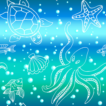 Hand drawn seamless pattern with different sea creatures: fish, starfish, octopus, turtle,
