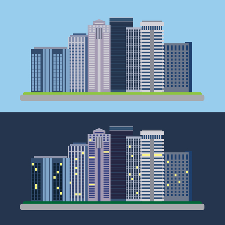 Flat design urban landscape day and night vector illustrations.