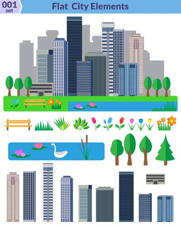 bulrush: Flat city elements set. Different elements for construction map and urban landscapes. Vector object seperated in layers and group. EPS8