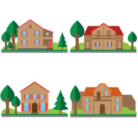 Colorful different flat houses set. Vector illustrations.