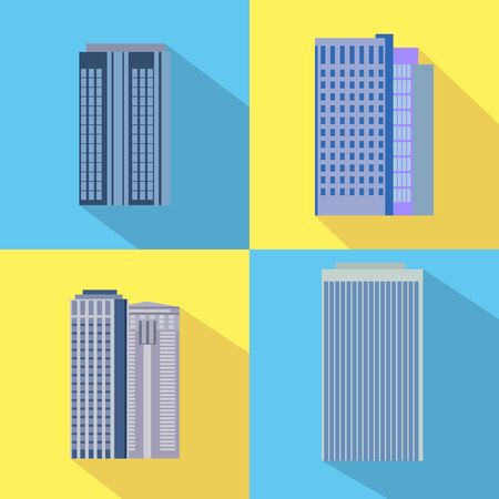 business buildings: Set of colorful business buildings icons, flat design. Vector illustrations.