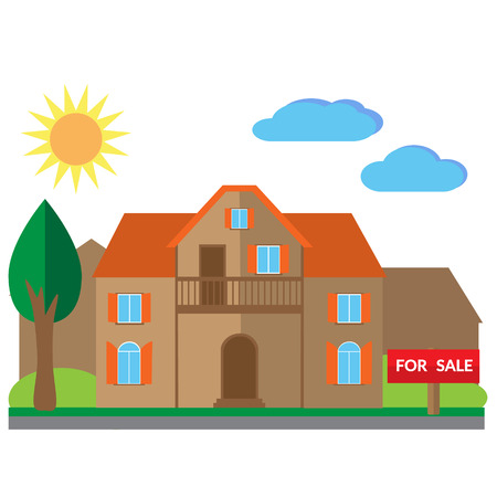 housing project: House for sale illustration. Vector flat illustrations Illustration