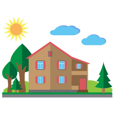 housing project: House with trees illustration. Vector flat illustrations Illustration