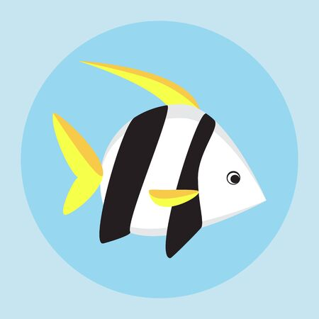 sea fish: Tropical fish flat icon vector illustration