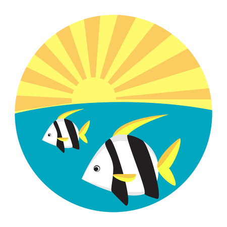 tropische fische: Tropical fish flat icon vector illustration